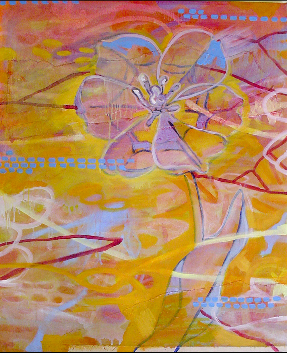 "Orange Tulip    Oil and Beeswax on Canvas 34"" x 28""  2003"