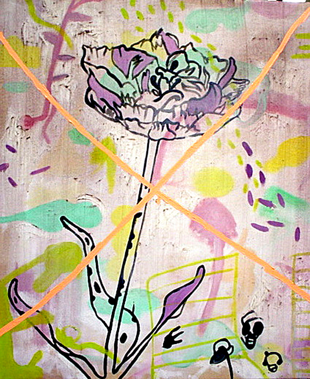 "White Tulip with Peach X    Oil and Beeswax on Canvas 34"" x 28""  2003"