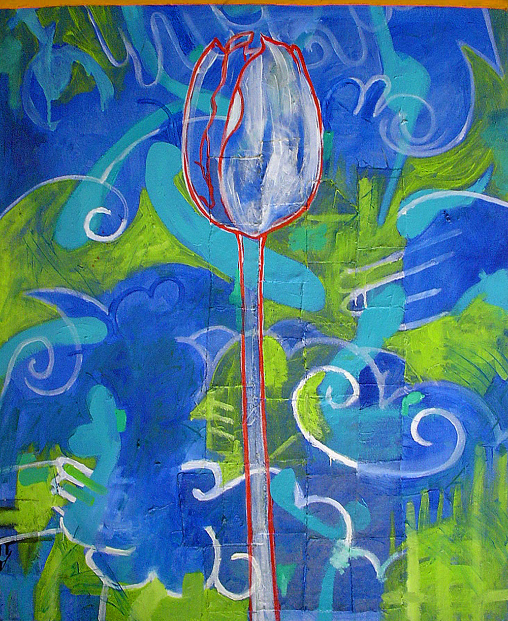 "White Tulip    Oil and Beeswax on Canvas 34"" x 28""  2003"