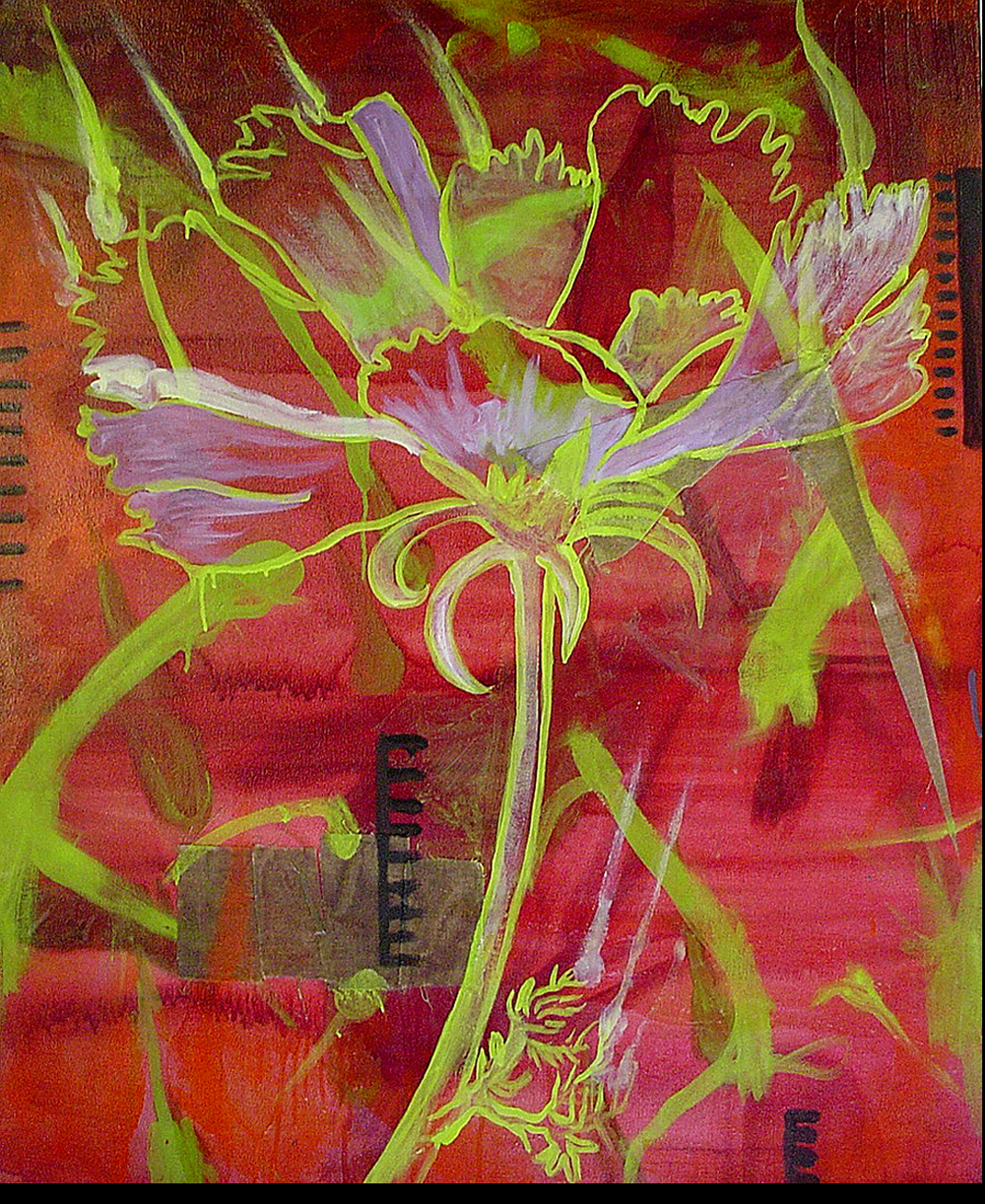 "Green Cosmos    Oil and Beeswax on Canvas 34"" x 28""  2003"
