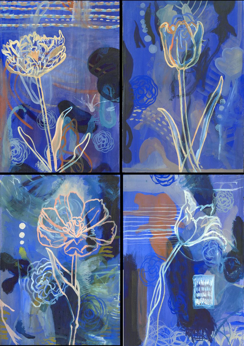 "Blue Quartet    Gouache on Illustration Board 30"" x 22' 2003"