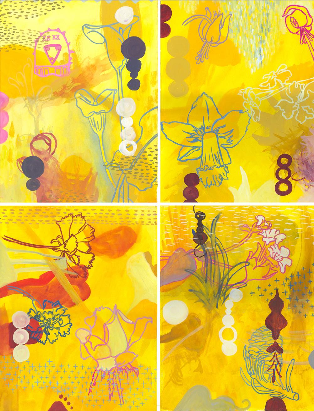 "Quartet #9    Gouache on Illustration Board 30"" x 22' 2003"