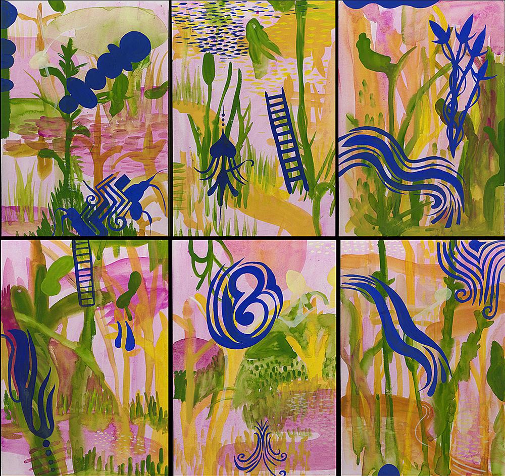 """Tattooed World    Gouache on Illustration Board 28"""" x 34' 2003"""