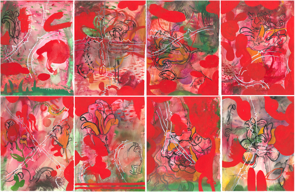 "The Roses   watercolor and gouache  on 8 sheets of Arches 14"" x 10"" each sheet 28"" x 40"" total © 2003 SP"