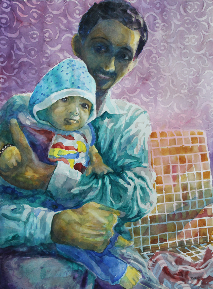 "Siddharth and the Genius Boy  Watercolor on 140# Arches WC Paper 22"" x 30"" (55.88cm x 76.2cm) © 2015"