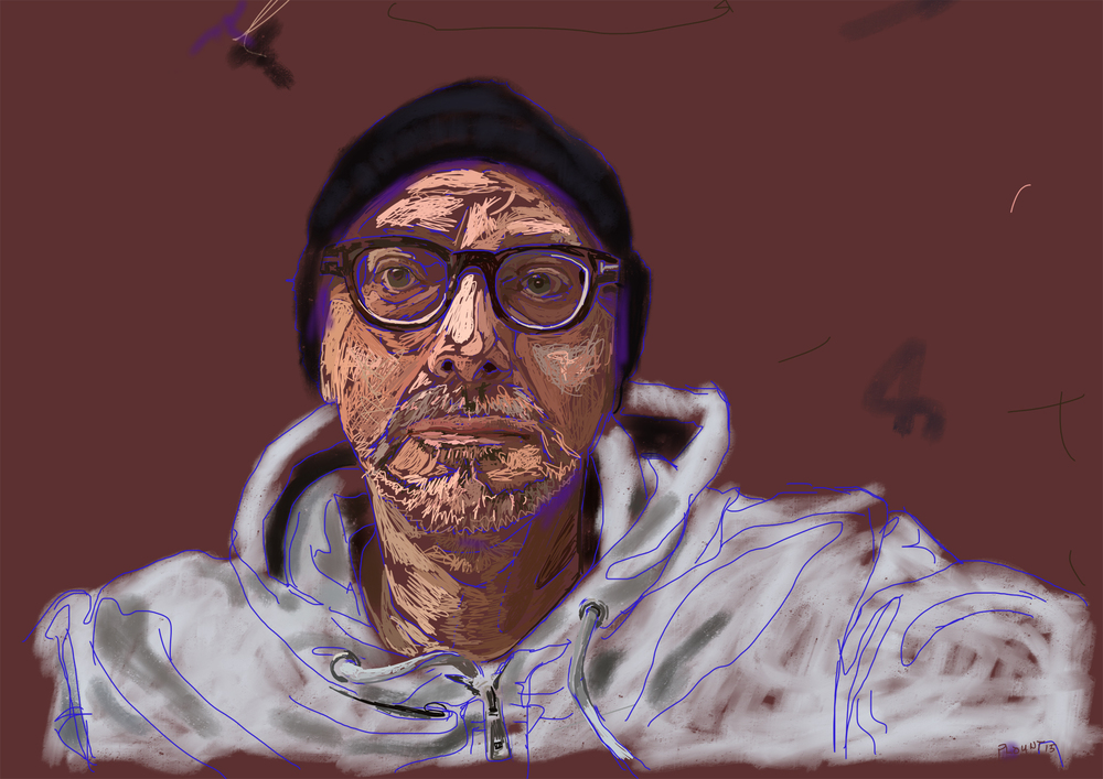 Self-portrait, November 2015  FBSelfie, ProCreate, Pencil 53, Photoshop, iPad, Desktop Digital Image Dimensions Variable © SP/MWW.2015