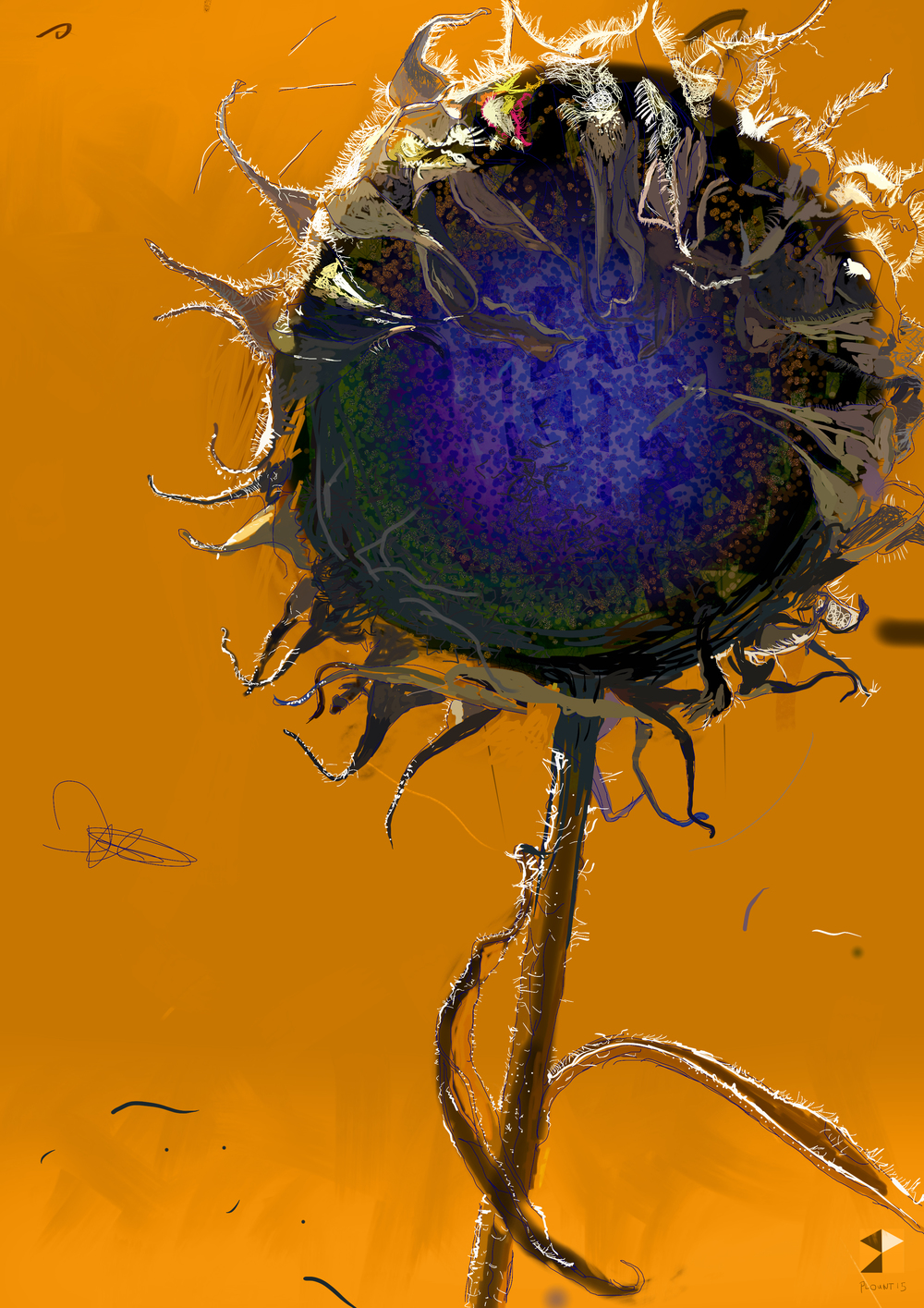 "Sunflower    Electronics Painting, iPad, Procreate, Pencil 53,  Photoshop. © 2016 dimensions variable to 48"" x 60""  giclee limited edition prints available contact the artist"