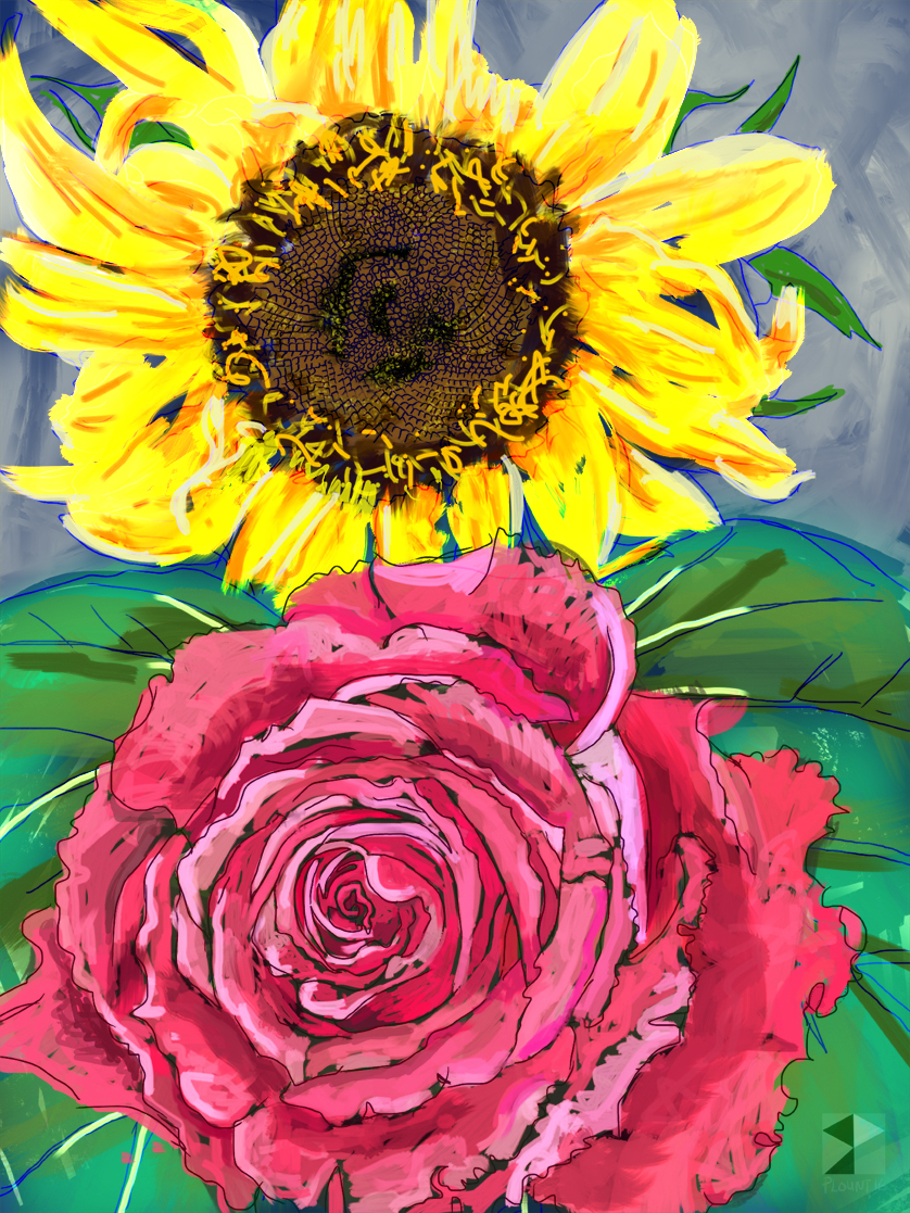 "Sunflower and Pink Rose, RadheKrishna   Electronics Painting, iPad, Procreate, Pencil 53,  Photoshop. © 2016 dimensions variable to 48"" x 60""  giclee limited edition prints available contact the artist"