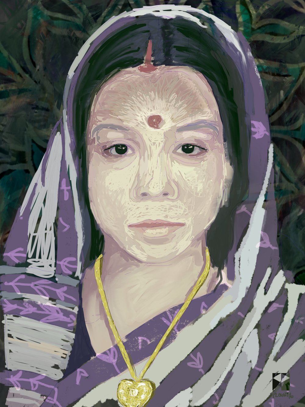 "Amma, Mrs. Adhikari   Electronics Painting, Sketchbook Scan,  iPad, Procreate, Pencil 53,  Photoshop. © 2016 dimensions variable to 48"" x 60""  giclee limited edition prints available contact the artist"