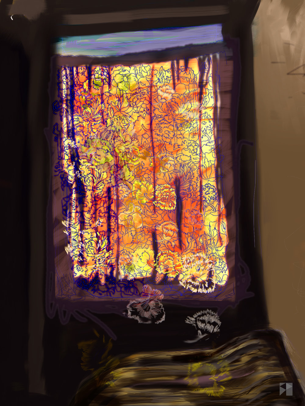"Window in Baguiati   Electronics Painting, iPad, Procreate, Pencil 53,  Photoshop. © 2016 dimensions variable to 48"" x 60""  giclee limited edition prints available contact the artist"