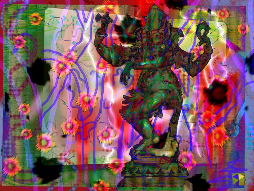 "Ganesh Abhishek   Electronics Painting, Sketchbook Scan,  iPad, Procreate, Pencil 53,  Photoshop. © 2016 dimensions variable to 48"" x 60""  giclee limited edition prints available contact the artist"