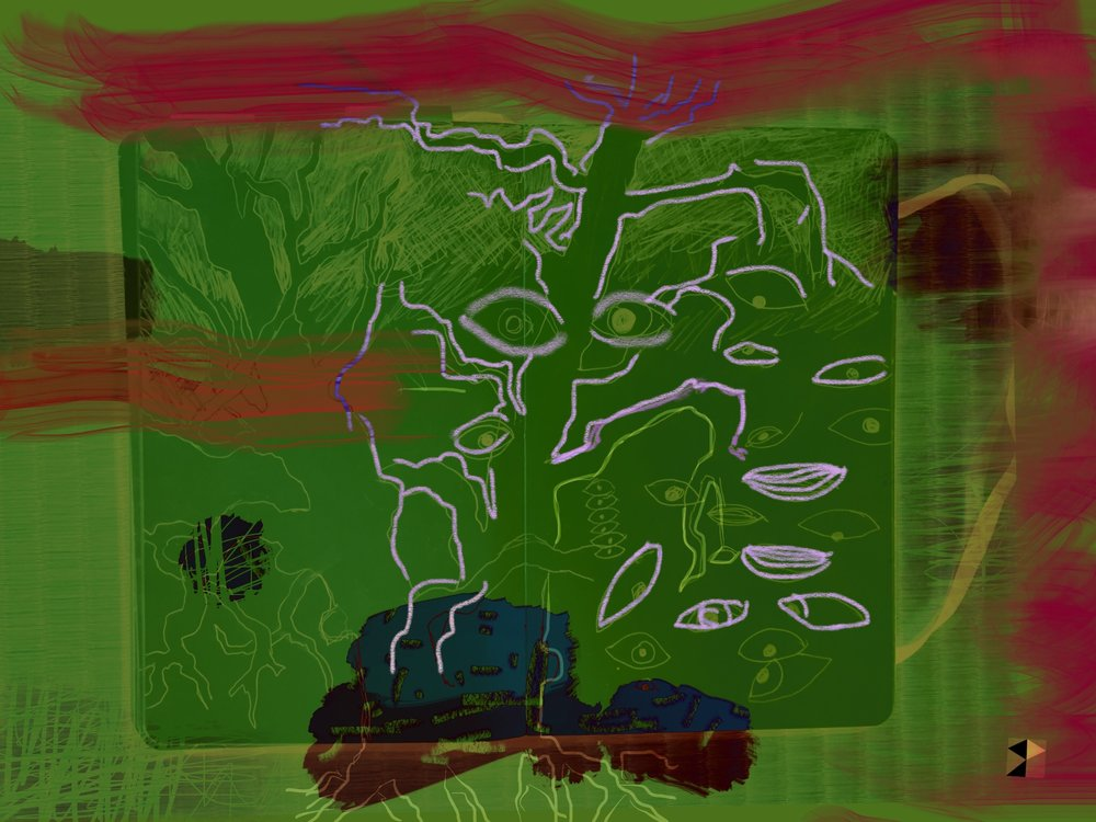 "Green Day   Electronics Painting, Sketchbook Scan,  iPad, Procreate, Pencil 53,  Photoshop. © 2016 dimensions variable to 48"" x 60""  giclee limited edition prints available contact the artist"