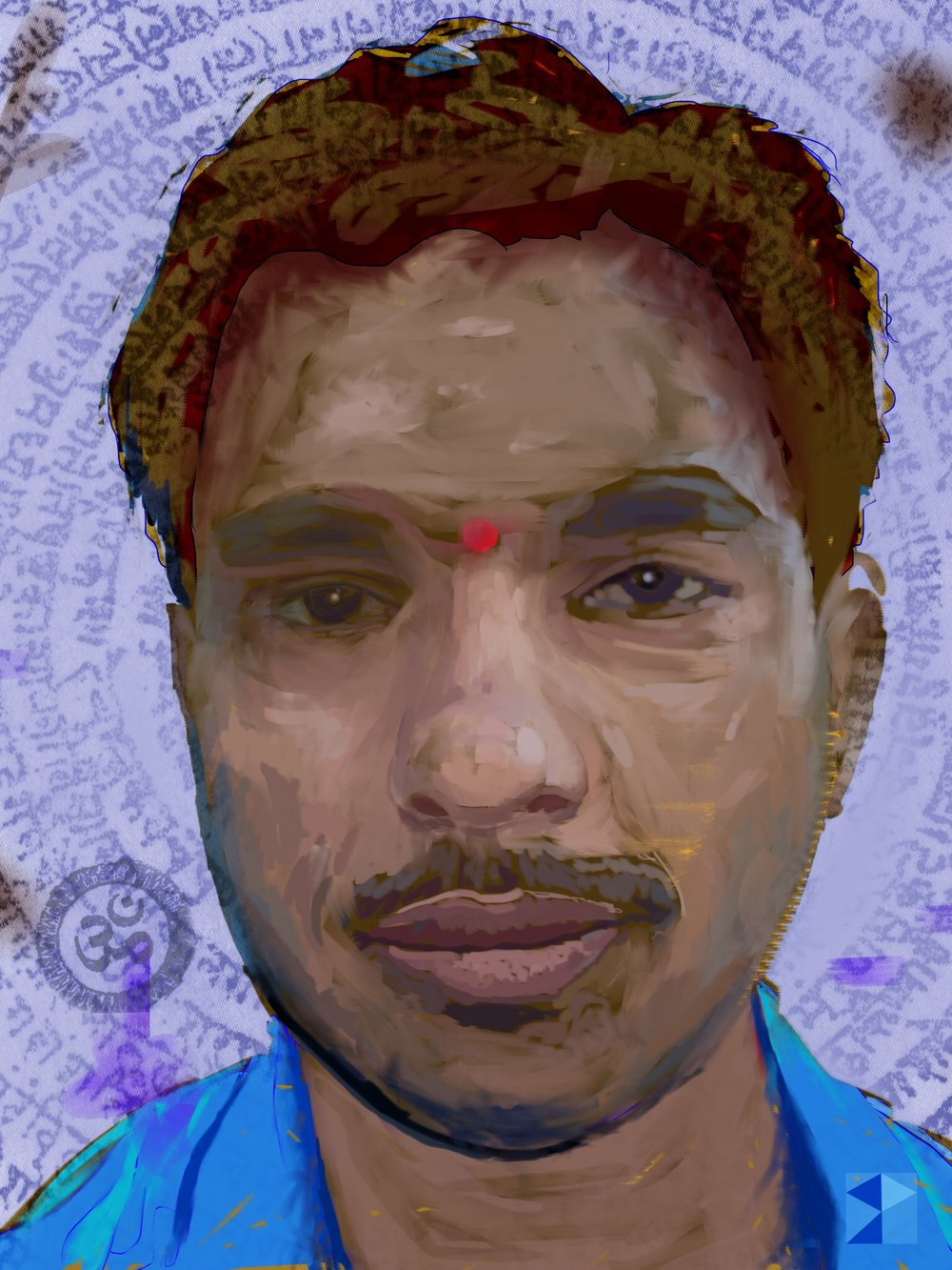 Mahesh, 2, Hindu Nationalist   FBSelfie, ProCreate, Pencil 53, Photoshop, iPad, Desktop Digital Image Dimensions Variable © SP/MWW.2015