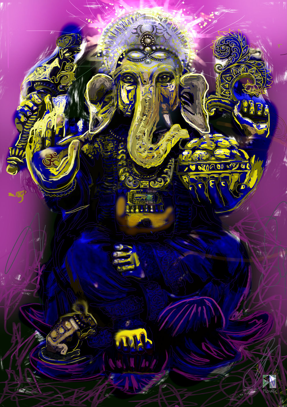 "Golden Ganesha   Electronics Painting, iPad, Procreate, Pencil 53,  Photoshop. © 2016 dimensions variable to 48"" x 60""  giclee limited edition prints available contact the artist"
