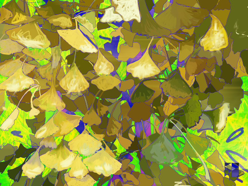 "Gingko Moment, 3   Click, Electronics Painting, iPad, Procreate, Pencil 53,  Photoshop, © 2016 dimensions variable to 48"" x 60""  giclee limited edition prints available contact the artist"