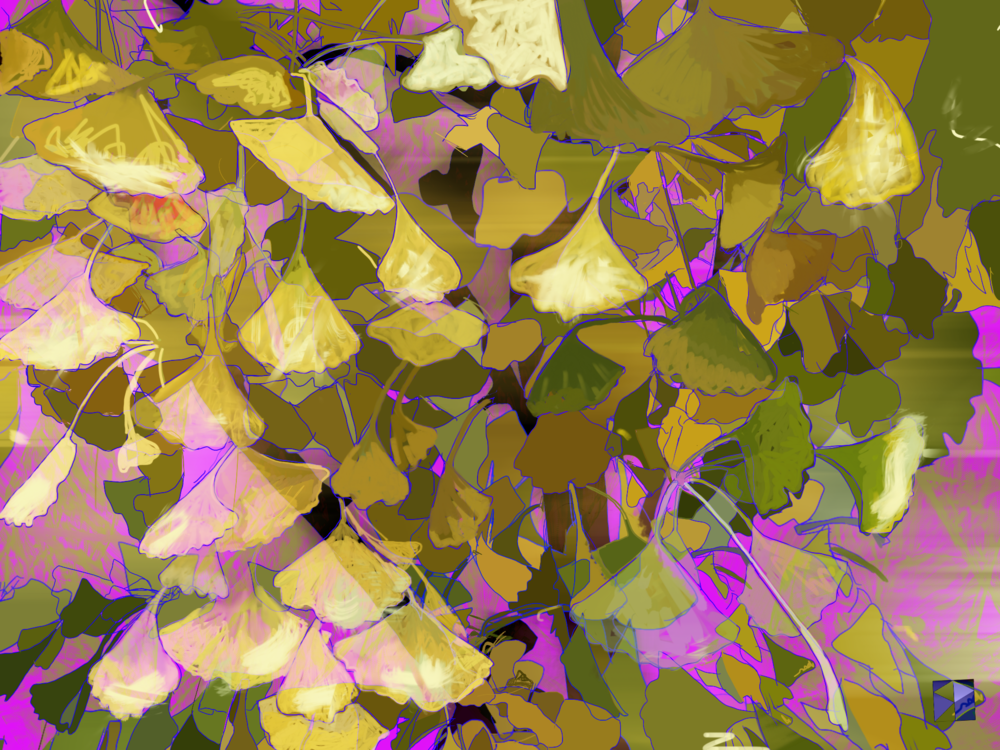 "Gingko Moment, 2   Click, Electronics Painting, iPad, Procreate, Pencil 53,  Photoshop, © 2016 dimensions variable to 48"" x 60""  giclee limited edition prints available contact the artist"