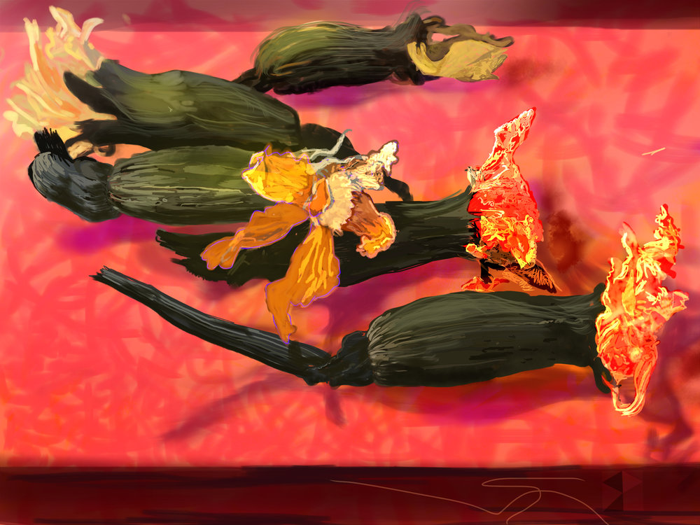 "Five Marigolds   Click, Electronics Painting, iPad, Procreate, Pencil 53,  Photoshop, © 2016 dimensions variable to 30"" x 40""  giclee limited edition (25) prints available contact the artist"