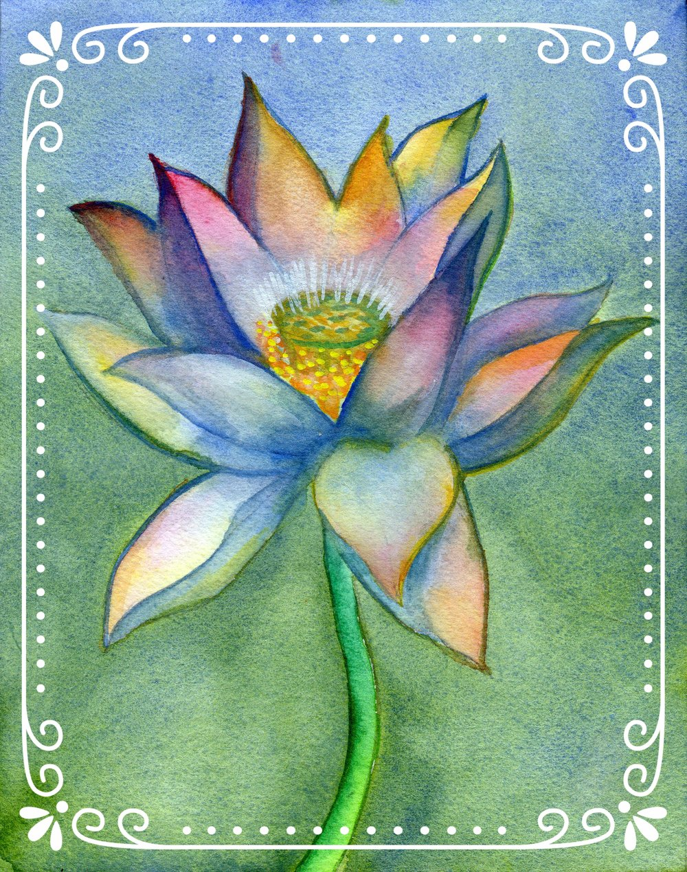 "Lotus 1    Watercolor on Arches 140# WC Paper 7.25"" x 6.5"" each (1 - 40 >>>>> all following)"