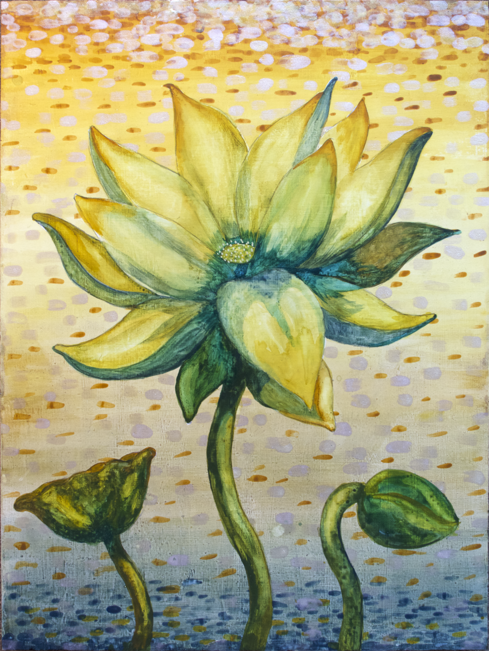 "Lotus, Number 1, Series 2    Watercolor on wood 24"" x 18"" (60.96cm x 45.72cm) © 2017"