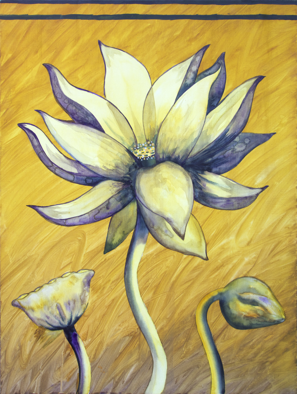 "Lotus, Number 7, Series 2    Watercolor on wood 24"" x 18"" (60.96cm x 45.72cm) © 2017"