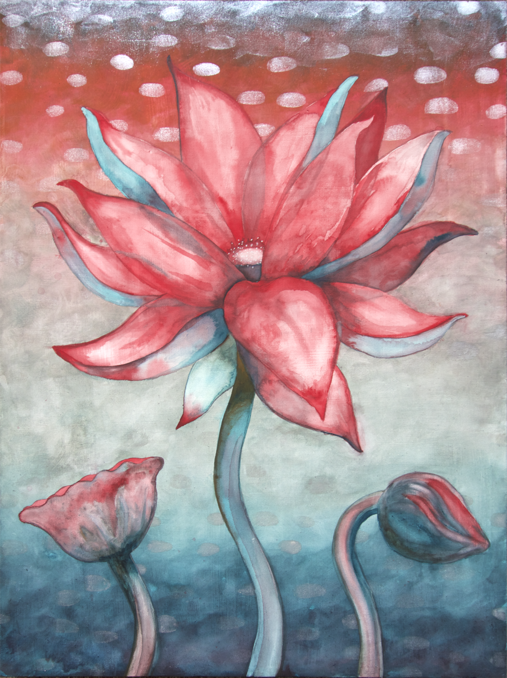 "Lotus, Number 6, Series 2    Watercolor on wood 24"" x 18"" (60.96cm x 45.72cm) © 2017"