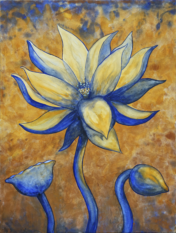 "Lotus, Number 8, Series 2    Watercolor on wood 24"" x 18"" (60.96cm x 45.72cm) © 2017"