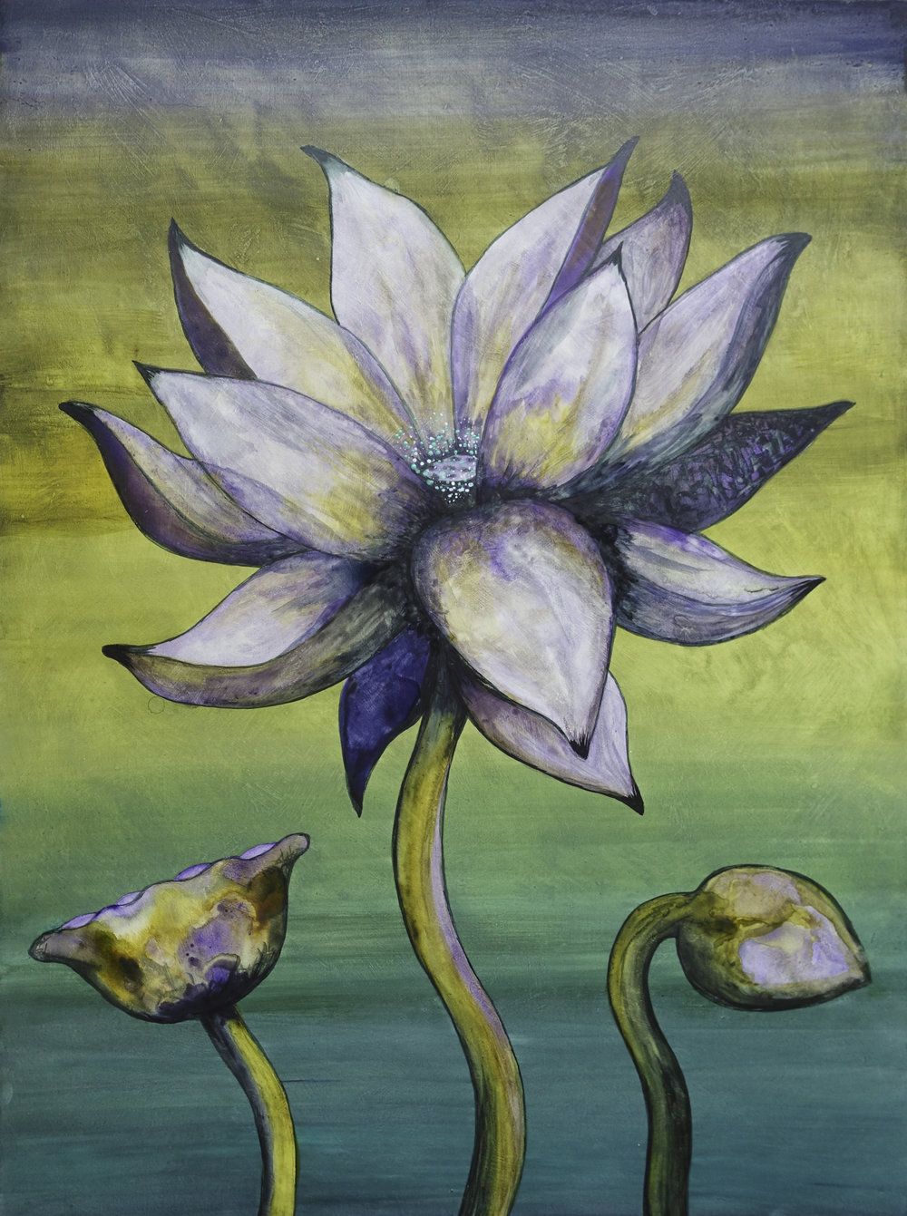 "Lotus, Number 11, Series 2    Watercolor on wood 24"" x 18"" (60.96cm x 45.72cm) © 2017"