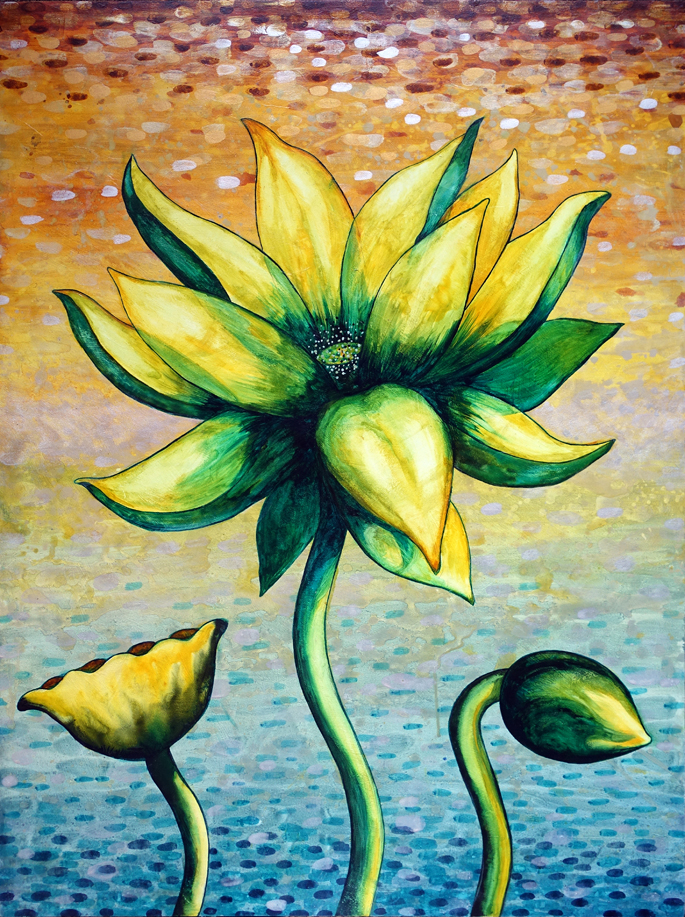 "Lotus, Number 26, Series 2   Watercolor on cradled wood panel 40"" x 30"" (101.66cm x 76.2cm) © 2017"