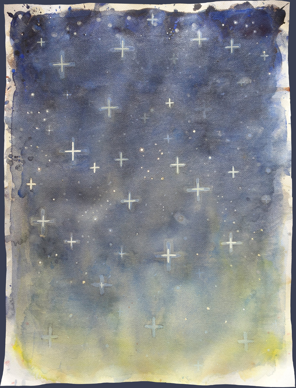 "Any Sky, Number 2   Watercolor on 140# Arches  WC Paper 24"" x 18"" (60.96cm x 45.72cm)  © 2018 SP"