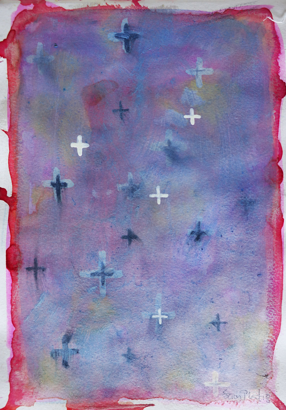 """Any Sky, Sketchbook 4, Page 23   watercolor on Paper 11.5"""" x 8"""" (27.94cm x 20.32cm)  © 2018 SP"""