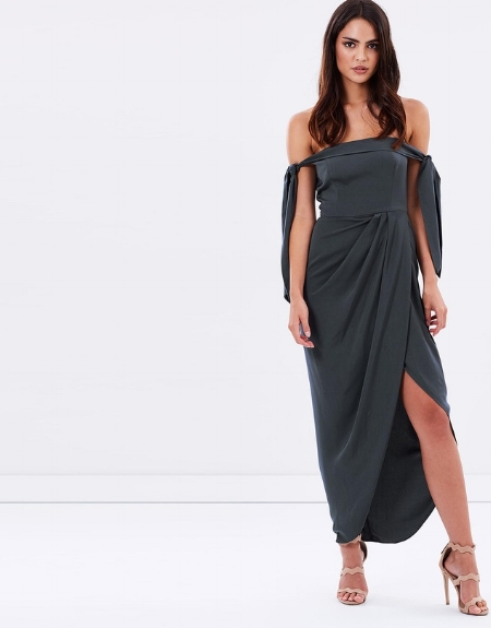 Tie Shoulder Bustier Dress - SHONAJOY