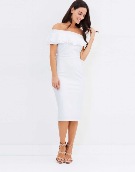 Bardot Ruffle Pencil Dress - DOROTHY PERKINS