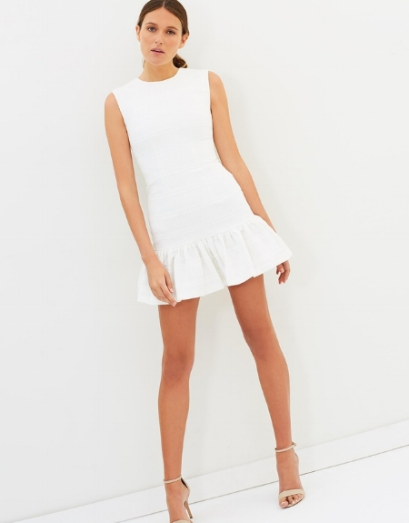 Texture Weave Gather Mini Dress - BY JOHNNY
