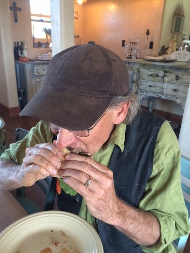 Matthew Engelhart eating his first burger after 40 years. Made from meat from his own cows.