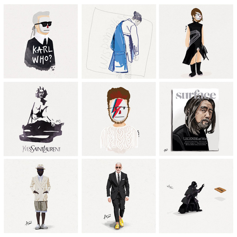 Karl Lagerfeld, Yves Saint Laren and others, sketched by Abei.                                                                                                                                                      © all rights reserved