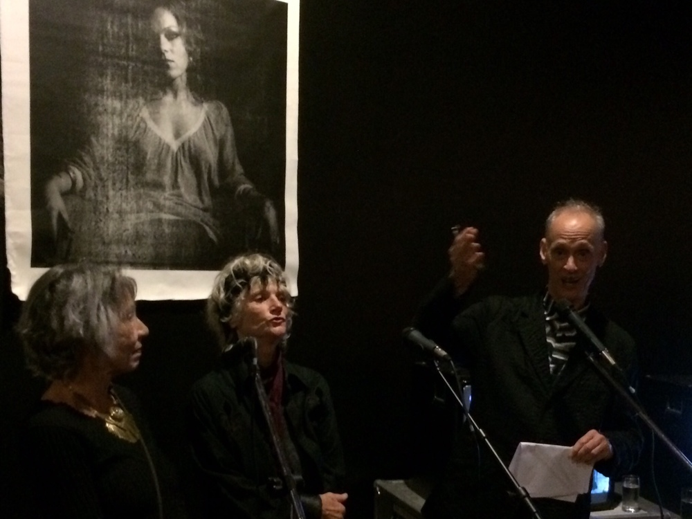 Sue Lowe, Sharon Niesp, John Waters reading 'Just Three Sluts' from Edgewise at Participant
