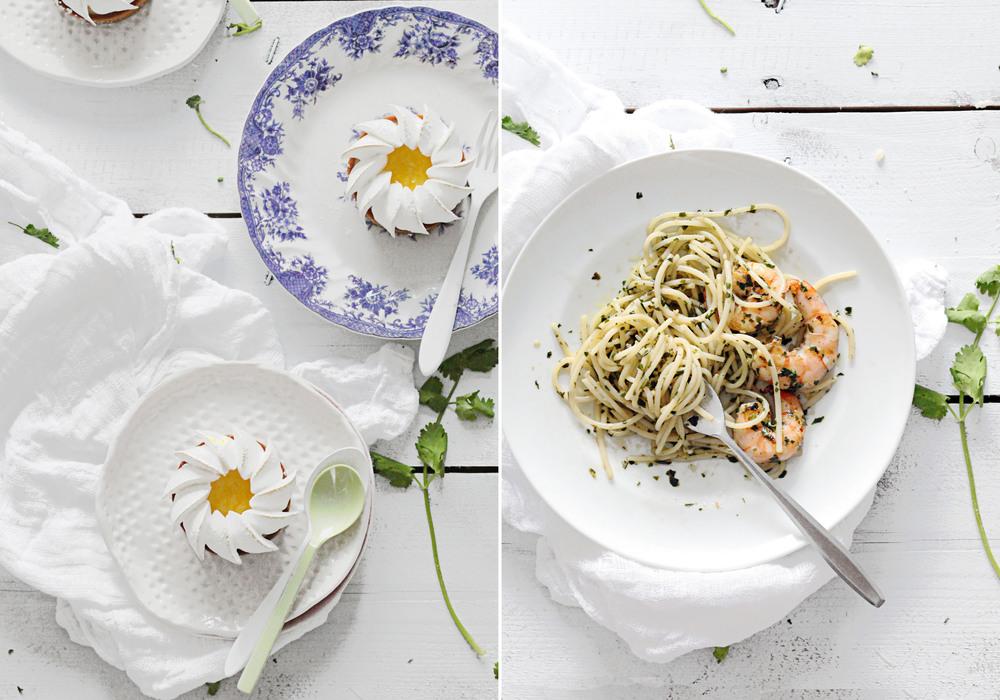 Tarte au Citron & Pesto Prawn Pasta
