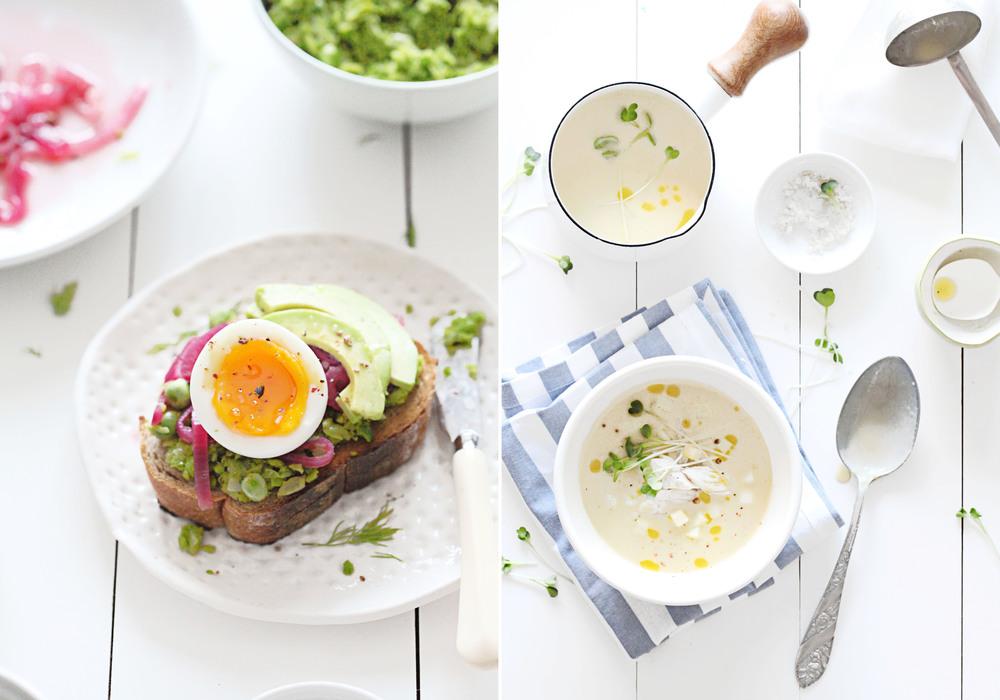 Pickled Onions, Peas, Egg Sandwich & Fennel, Leek and Parsnip Chowder