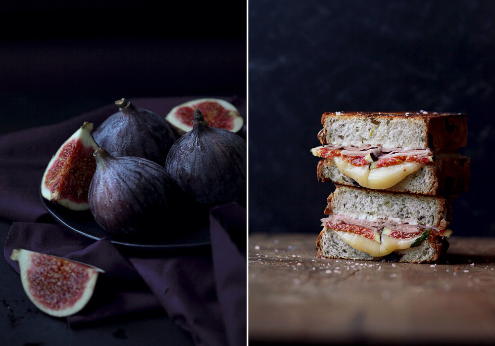 Grilled Cheese Sandwich with Feta, Figs, Honeyed Ham & Fontina Cheese