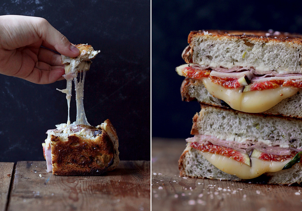 Grilled Cheese Sandwich of Feta, Figs, Honeyed Ham & Fontina Cheese