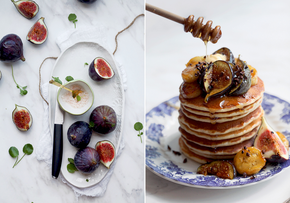 Pancakes with Caramelized Bananas, Figs, Cocoa Nibs and Honey-Maple Syrup