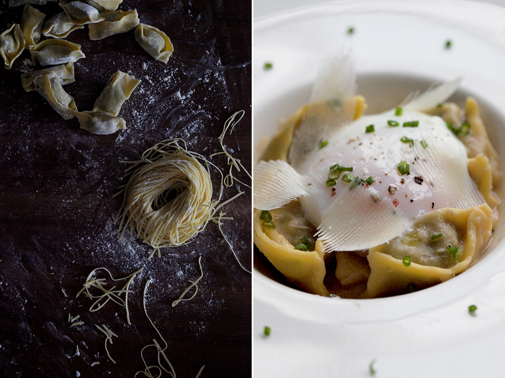 Fresh Yolk Agnolottis with Aubergine & Mozzarella, tossed in Kombu, Sesame, White Miso and Potato Sauce, EVOO, Onsen Egg & Pecorino