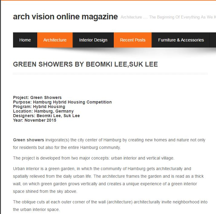 Arch Vision Online Magazine - Green Showers