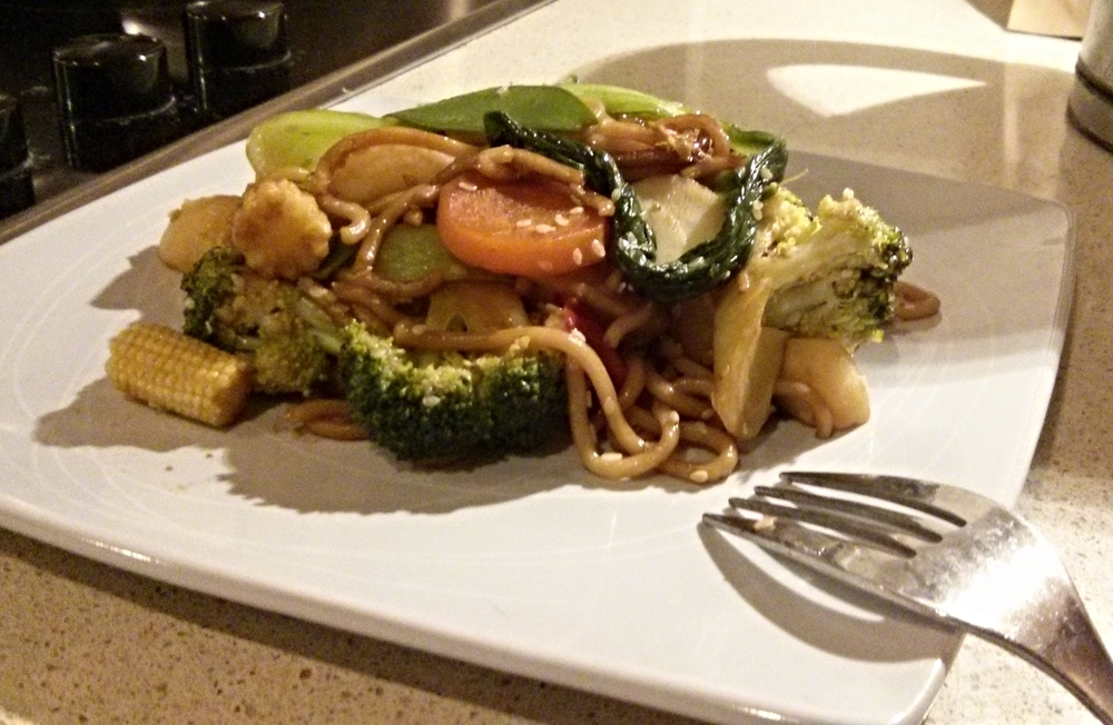 Stir fried vegetables with noodles