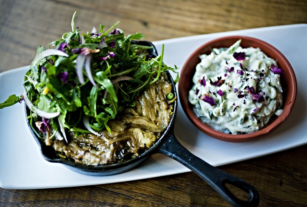 Flame roasted aubergine biryani, coconut yoghurt, mint & cucumber