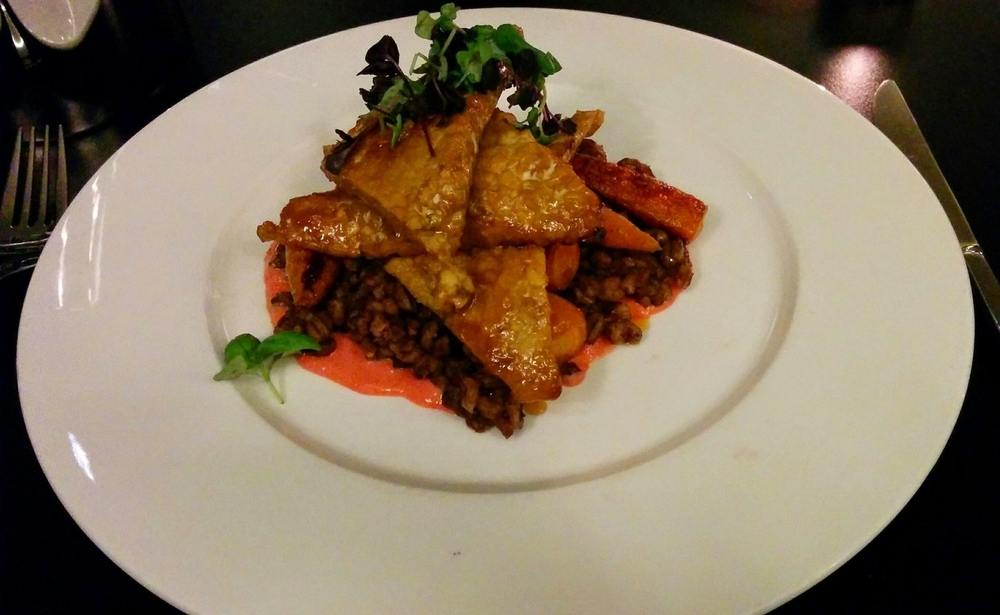 Maple and Orange Glazed Tempeh, with Grilled Baby Carrots, Chocolate & Gochujang Pearl Barley