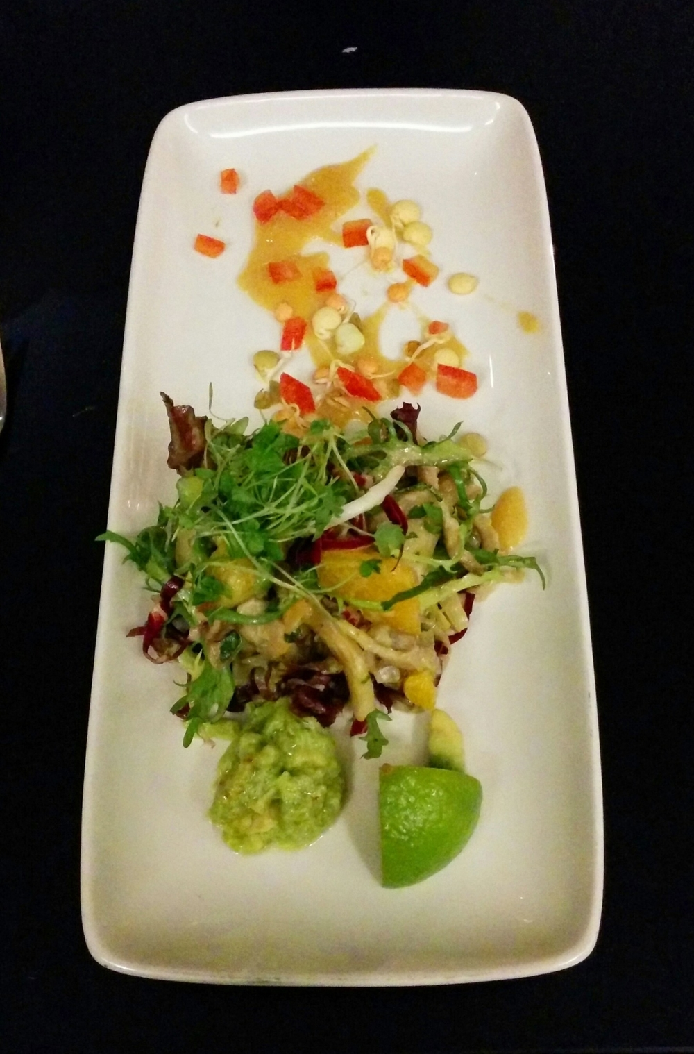 Raw Oyster Mushroom Ceviche with Micro Greens