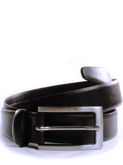 Dark brown belt with a silver buckle