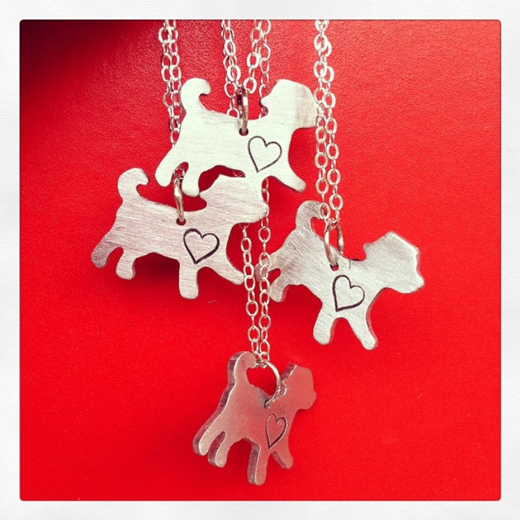 Necklace - mini dog with a heart