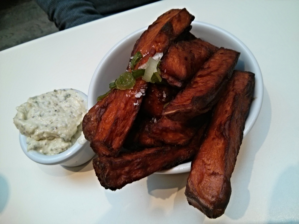 Sweet potato fries with basil mayo